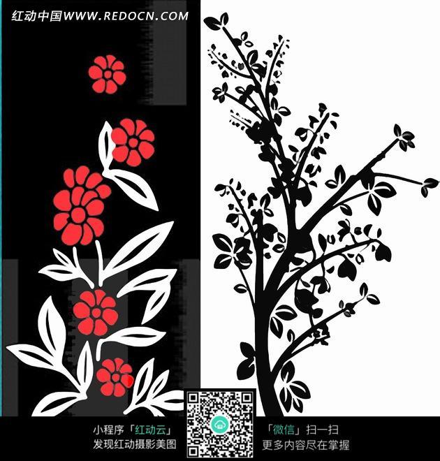 装饰画 黑白背景上的植物叶子和花朵图片免费下载 编号1904324 红动网图片