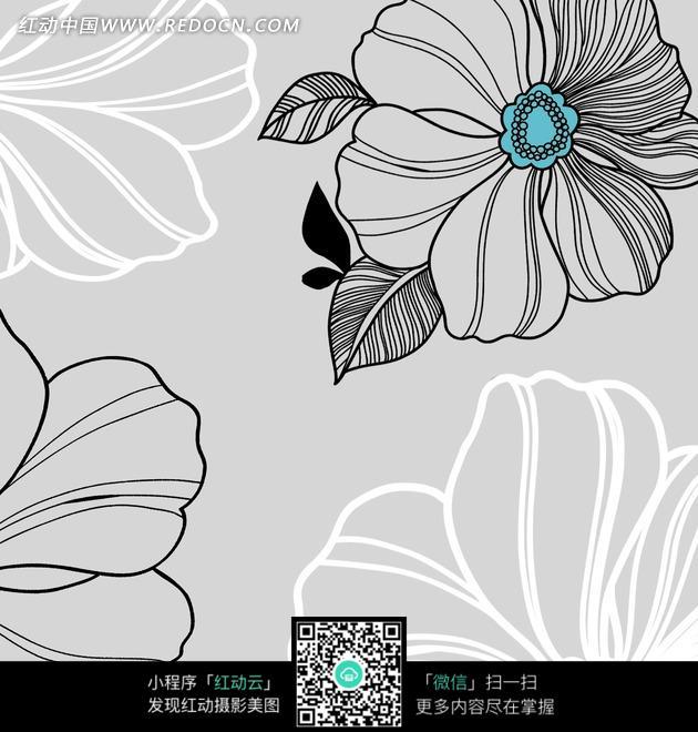 灰色 白色 花朵 树叶 线条 手绘 无框画  书画