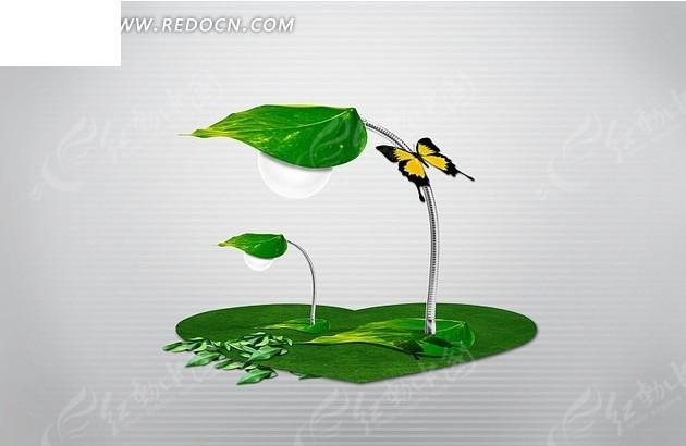 心形草地 绿叶 叶子 灯泡 蝴蝶 psd素材 风景图片 psd分层素材