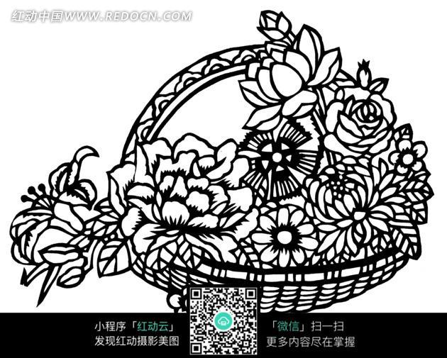 剪纸艺术花篮中的花朵图片