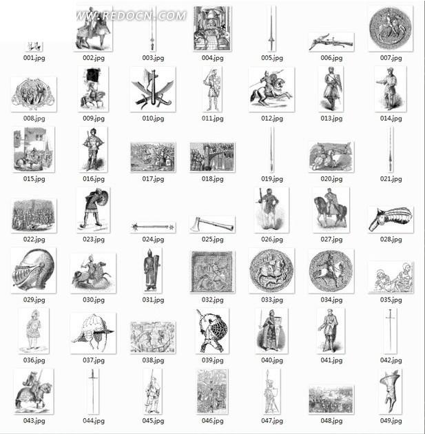 中国古典图案合辑-古代士兵兵器等图案