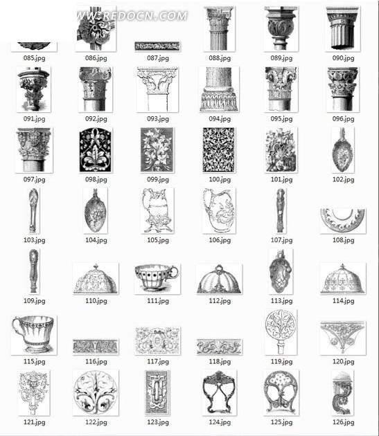 拓印图合辑—古代欧洲圆柱和装饰花纹以及杯子