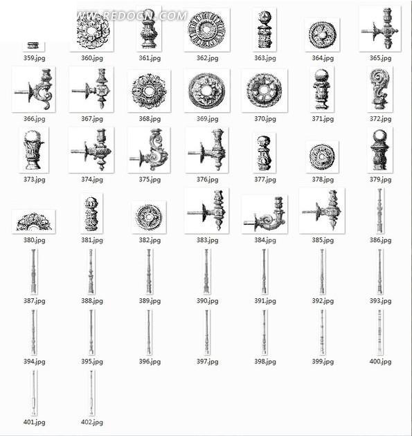 欧式建筑装饰部件矢量素材矢量图