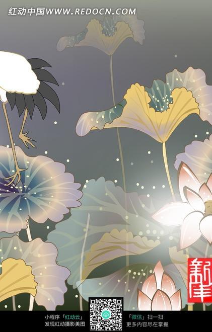 花卉插画雨点中的荷塘荷花图片免费下载 编号1908813 红动网