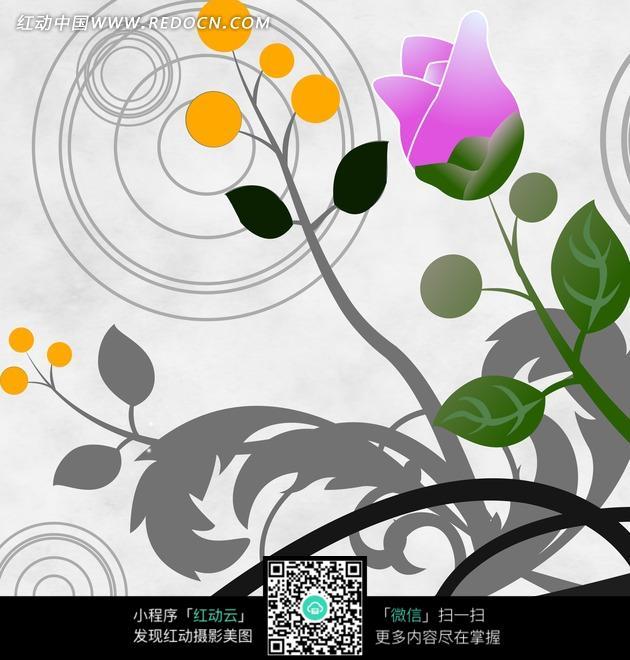花卉插画 圆圈水波上的手绘玫瑰花