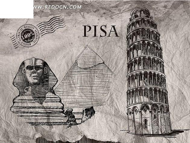 欧式手绘房产海报--埃及狮身人面像和角斗场