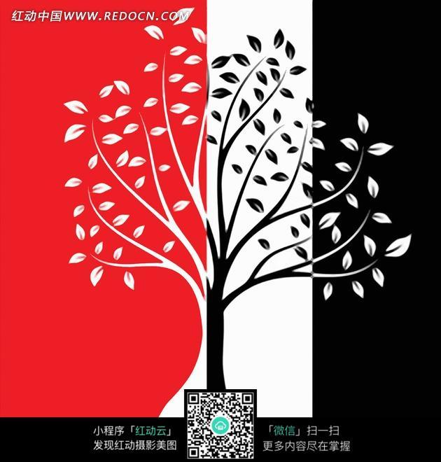 黑白红背景小树图案背景素材图片