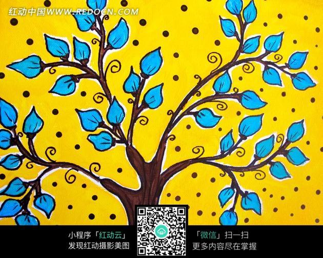 绘画作品-黄色背景上长着蓝色树叶的大树
