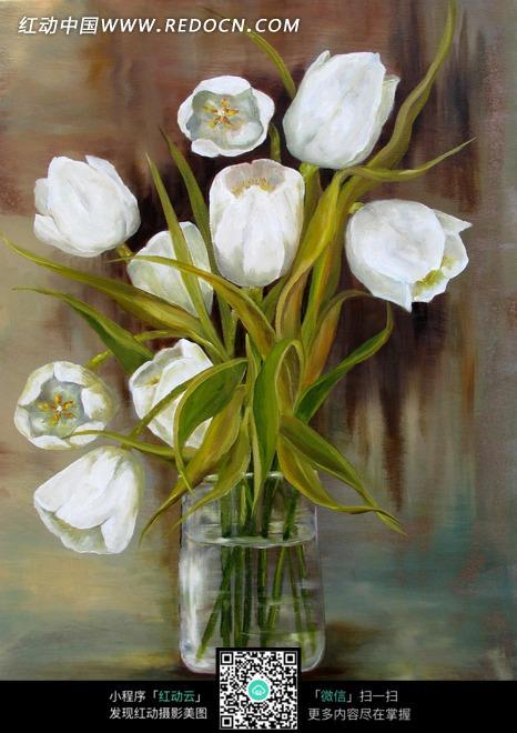 绘画作品-灰色背景上玻璃瓶内的白色花朵图片