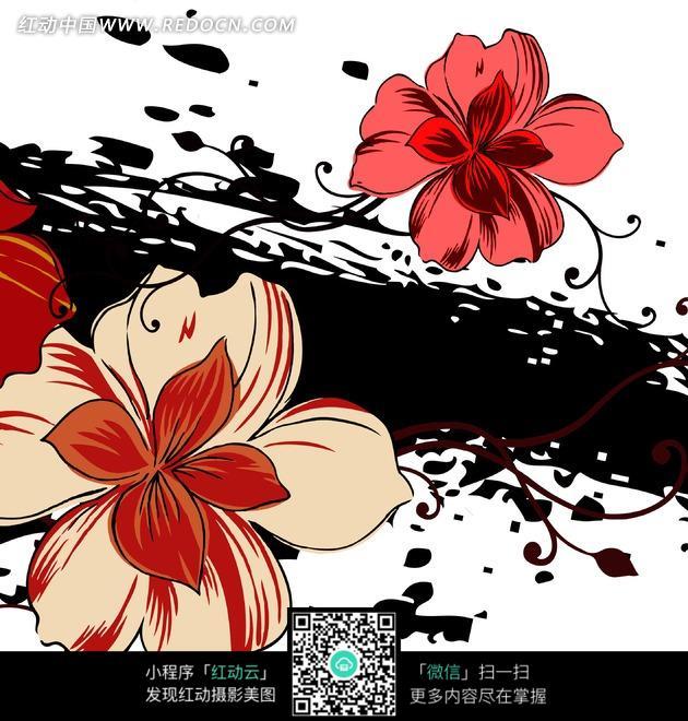 黑色溅墨和抽象红色花朵图片
