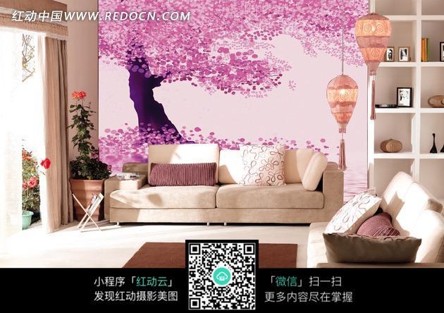 田园风格客厅内长着粉色树叶的大树手绘墙图片