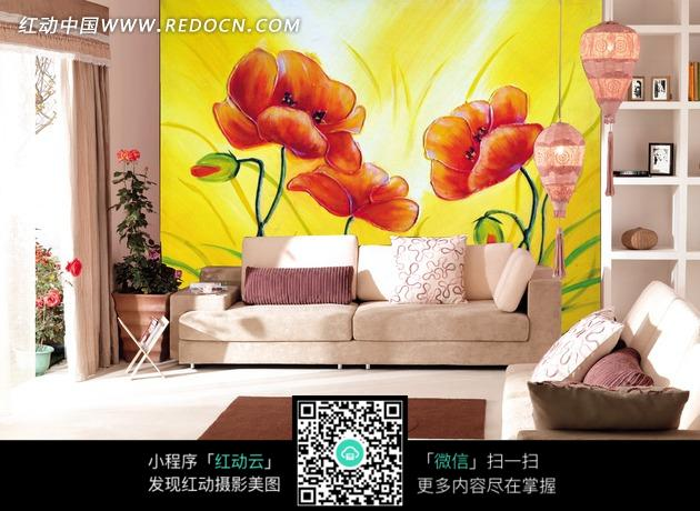 背景美丽花朵手绘墙图片
