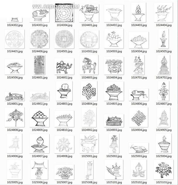线描图合辑—古代果盘和动物以及图案