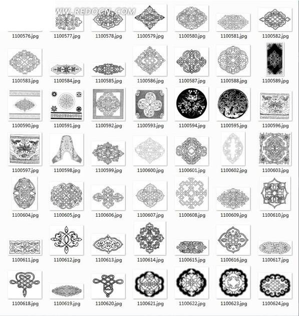 菱形花纹 圆形花纹 各类对称花纹  中国风 中式古典纹样 传统图案图片