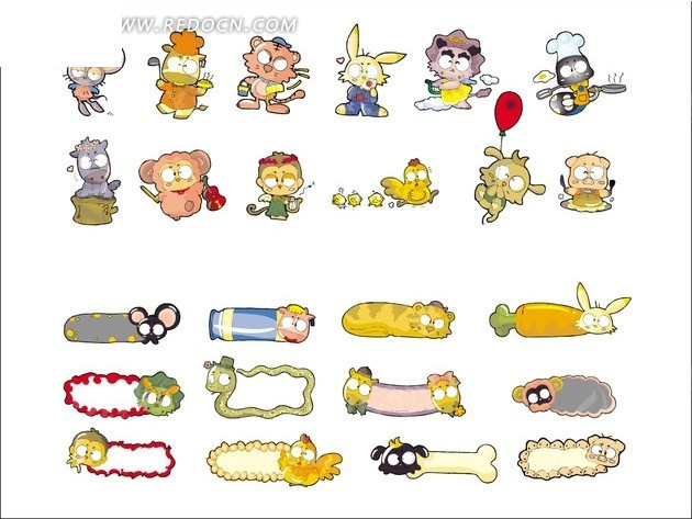 枉鼠 牛 虎 兔 龙 蛇 马 羊 猴 鸡 狗 猪 生肖 十二生肖 卡通动物