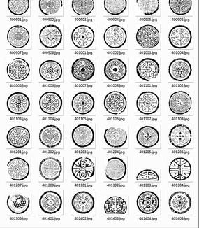 中国古典图案合辑-勾边卷纹圆形等图案