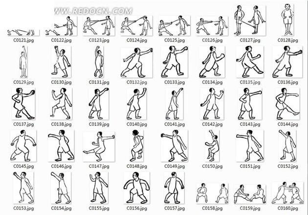 线描图合辑—练习拳法和棍法的人图片