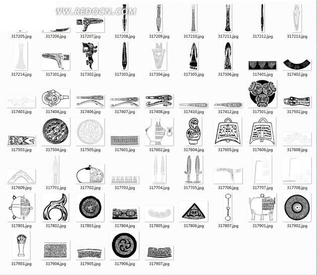 拓印图合辑—古代编钟和花瓶以及古代兵器
