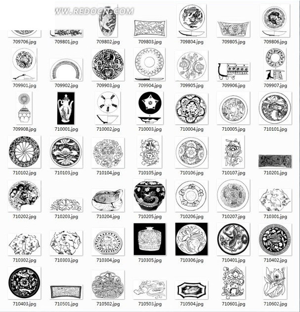 中国古典图案合辑 花瓶酒壶团花等图案矢量图 传统图案 -中国古典图案
