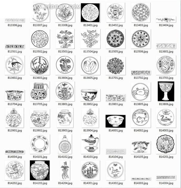 拓印图合辑—圆形花纹图案和器皿