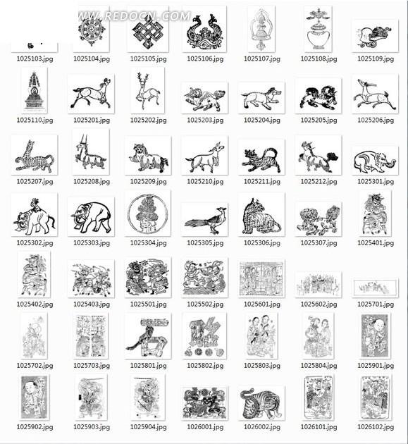 飞鸟 中国结 鹿 动物 装饰纹 花纹 古典花纹 古典装饰花纹 经典纹样