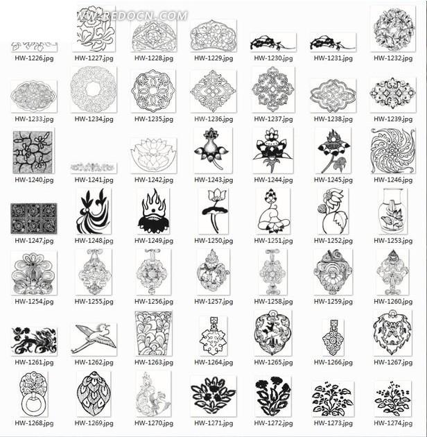 线描图案合辑—美丽的花纹图案和植物以及飞鸟