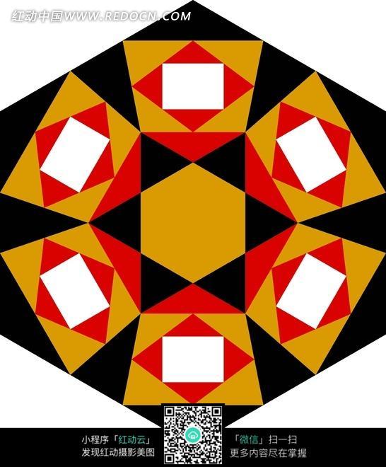 六边形菱形长方形组合花纹图案
