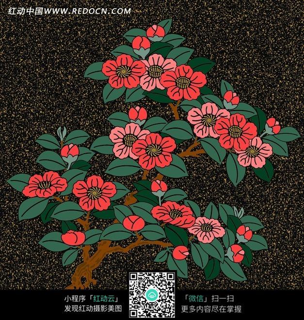 手绘盛开桃花树图片_底纹背景图片