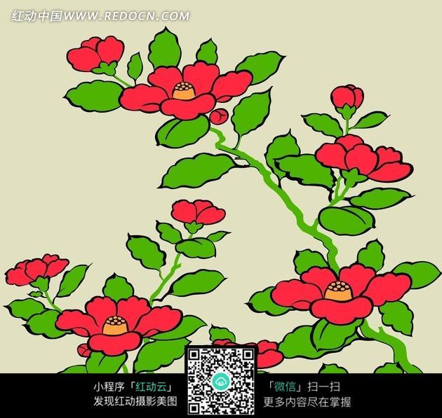手绘红色花朵和绿色叶子图片