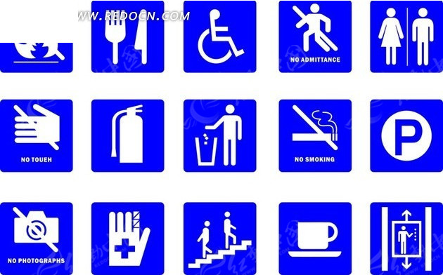 标识牌设计—蓝底的白色公共场所标志图片
