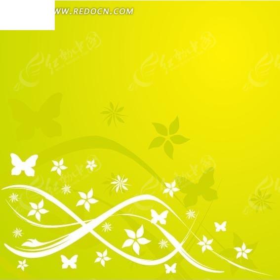 青绿色植物藤蔓花朵和蝴蝶背景