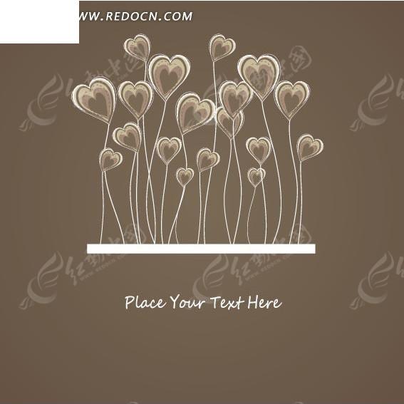 花卉插画手绘植物红心花朵的卡片