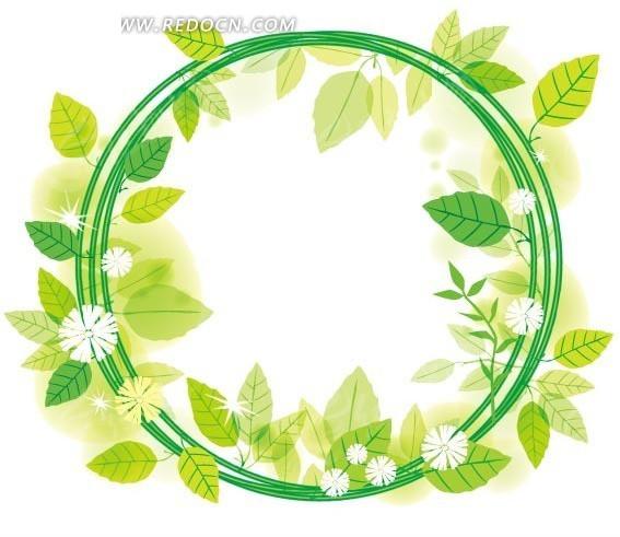 青绿色圆形藤蔓绿叶花朵的花环边框矢量图 边框相框