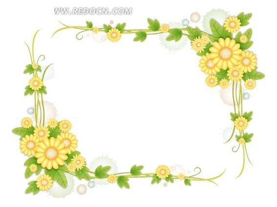 免费素材 矢量素材 花纹边框 边框相框 绿色藤蔓的小黄菊花朵方形边框
