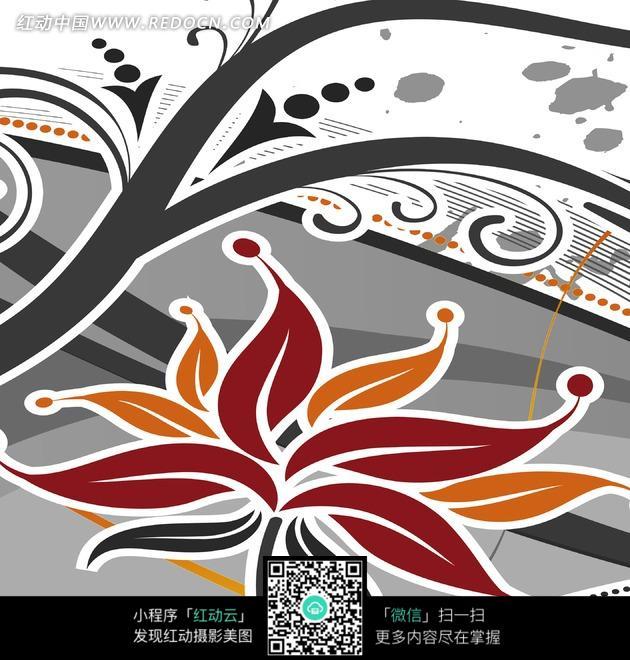 插图 插画 装饰画 白边 藤蔓 棕色 花朵 灰色 点点 喷墨  无框画 书画