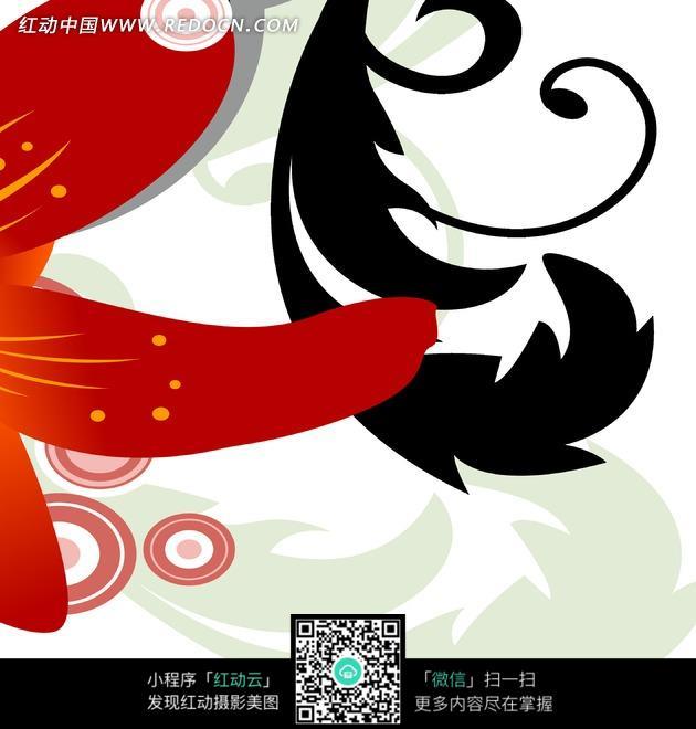 免费素材 图片素材 文化艺术 书画文字 红色花瓣与黑色叶子