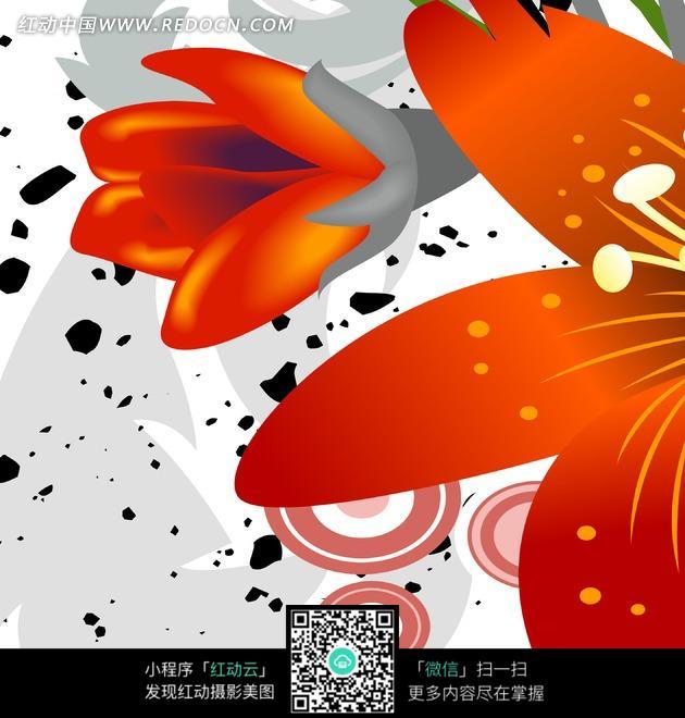 免费素材 图片素材 文化艺术 书画文字 装饰画—橘红色花朵和同心圆以