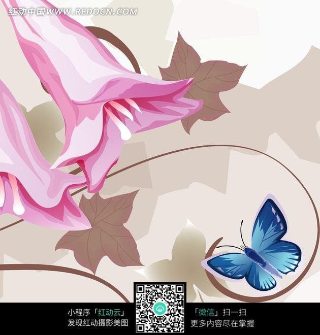 装饰画—粉色花朵和褐色叶子以及蝴蝶图片