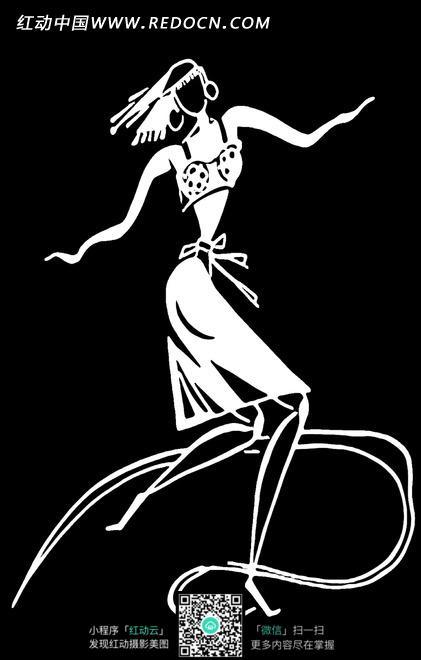 黑色背景是跳舞的少数民族人物抽象画图片