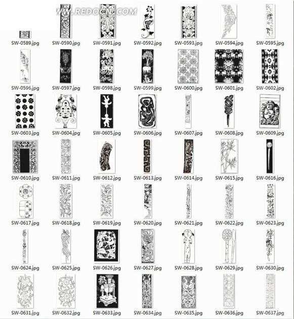 条形纹样矢量图 纹样素材 人物纹样 人物图案 花纹 素材 底纹 花瓶