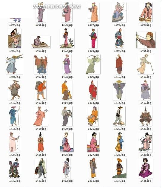 手繪做各種動作的日本古代男女合輯圖片