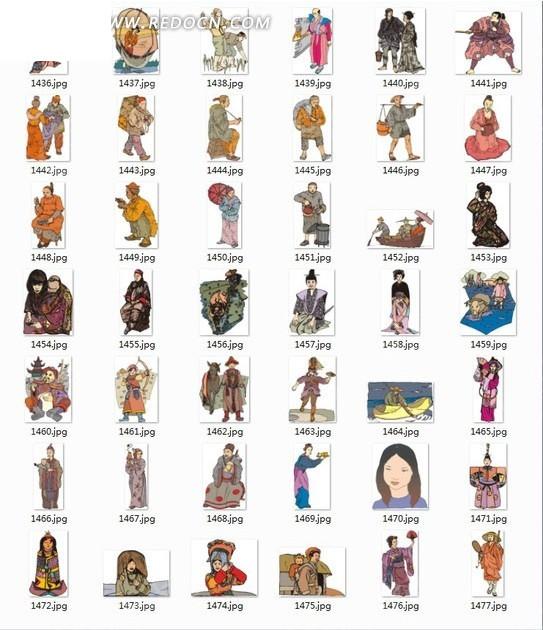 手绘各种姿态的日本古代男女
