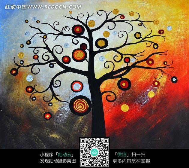 装饰画—长满圆形的树木