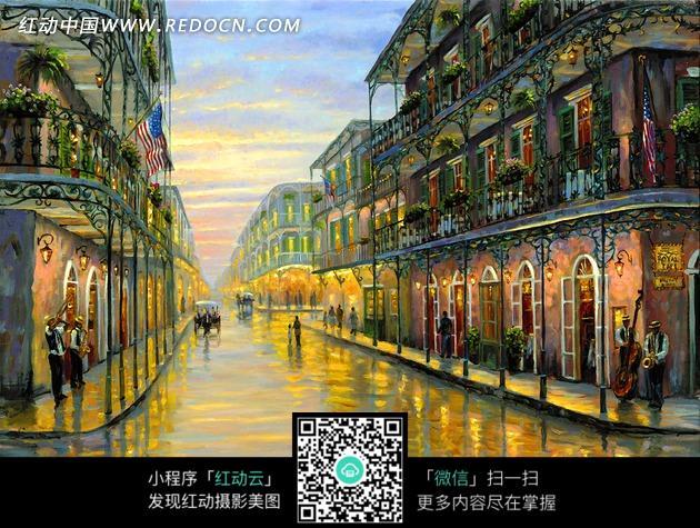 雨后风景 空旷街道 建筑 城市建筑 绘画 艺术 油画  风景画 书画