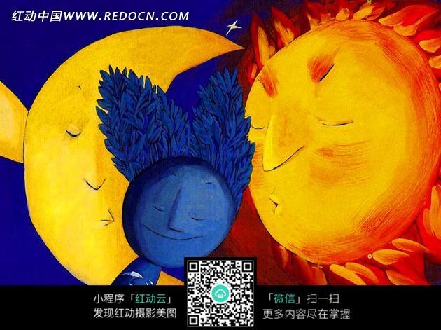 免费素材 图片素材 文化艺术 书画文字 蓝色植物和黄色向日葵卡通油画