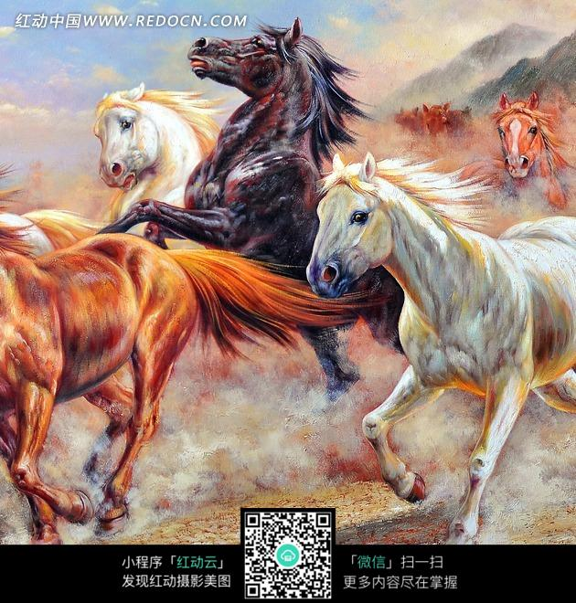 马年贺卡免费模板_油画奔跑马群中的昂首黑马图片免费下载_红动网