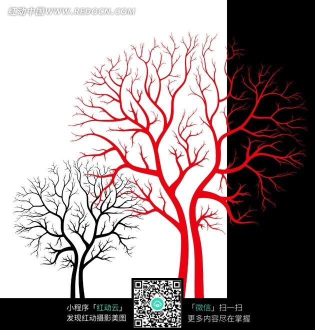 简约的抽象树装饰画图片
