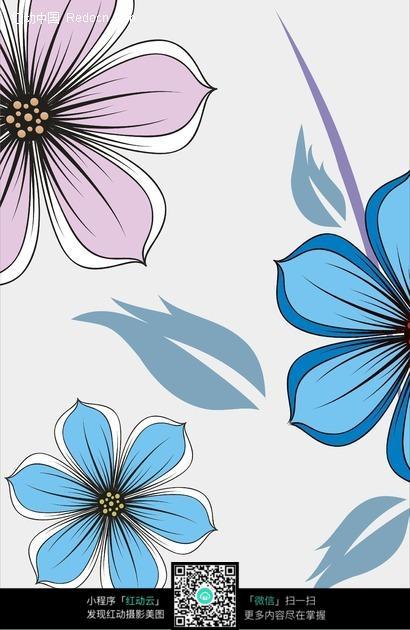 手绘六瓣花朵组成的图片