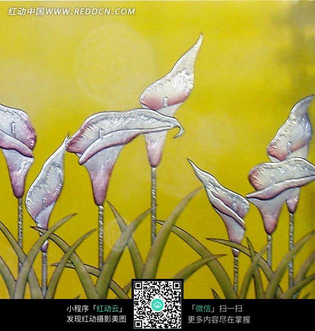 马蹄莲 叶子 浅红色花朵 浮雕风格 黄色背景 背景 装饰 花纹 底纹 无