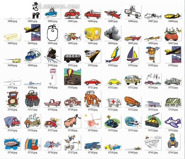 手绘交通工具合辑图片
